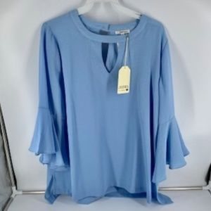 Blue Bell Sleeve Top w Keyhole Accents by Jodifl